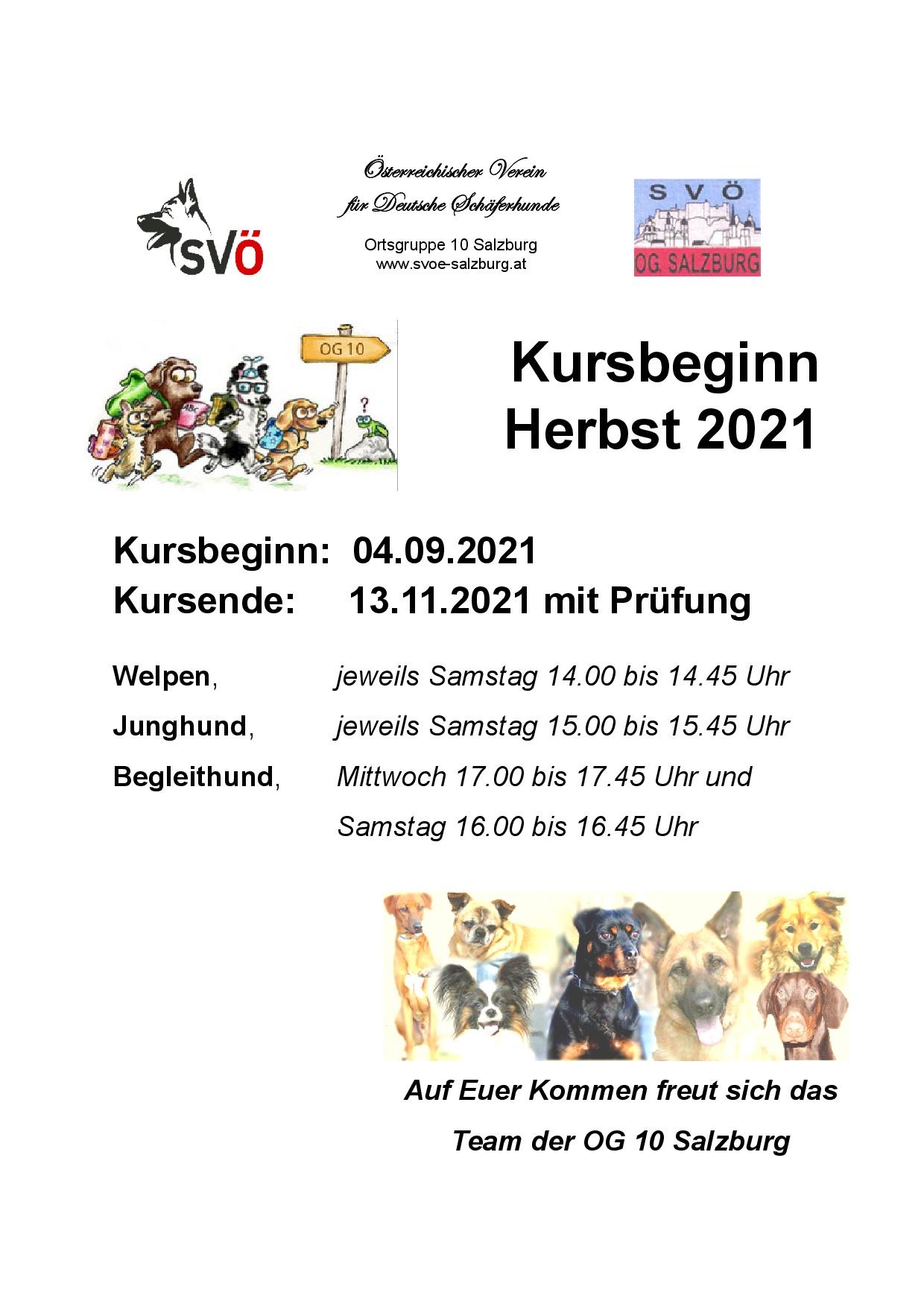 Training ab September 2021