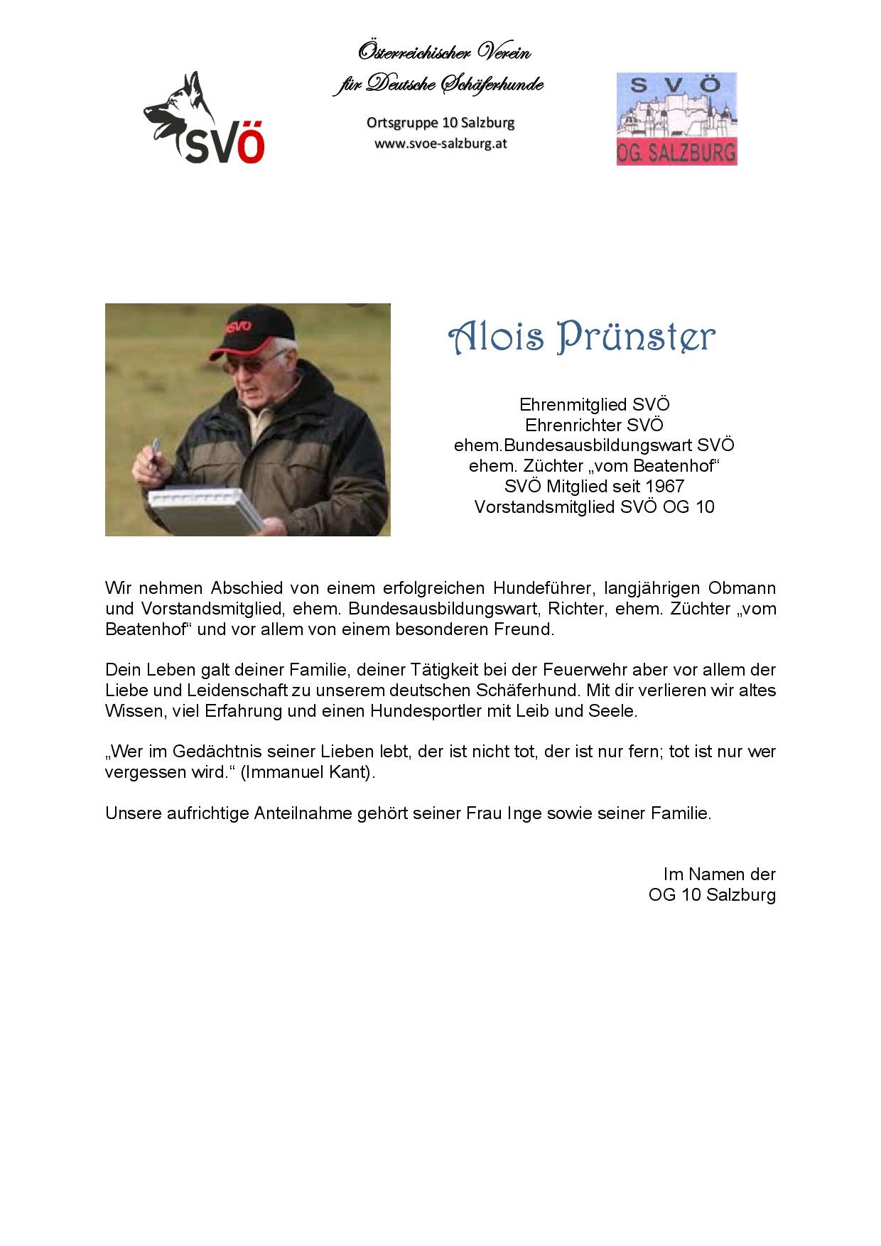 Abschied Alois Prünster
